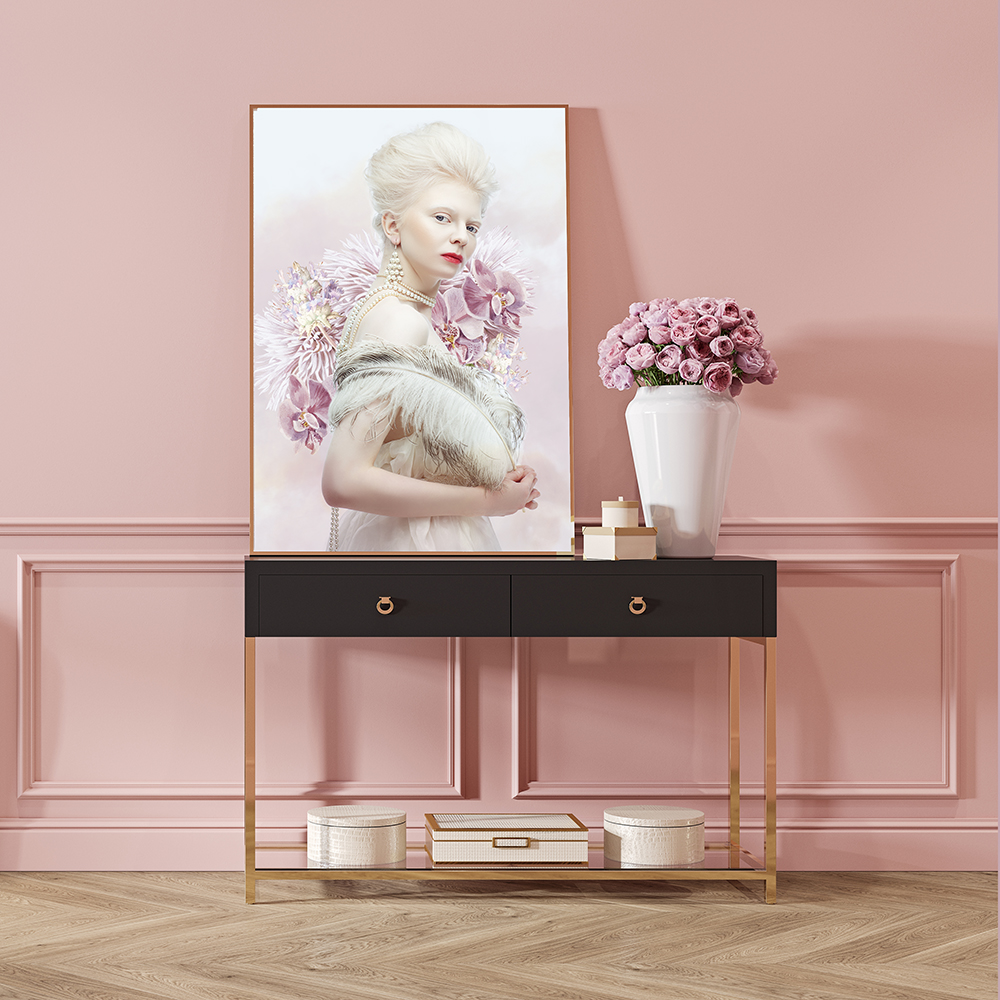Modern classic pink interior with dresser, console, sofa, furniture, lamp, flower, gifts, frame, picture.