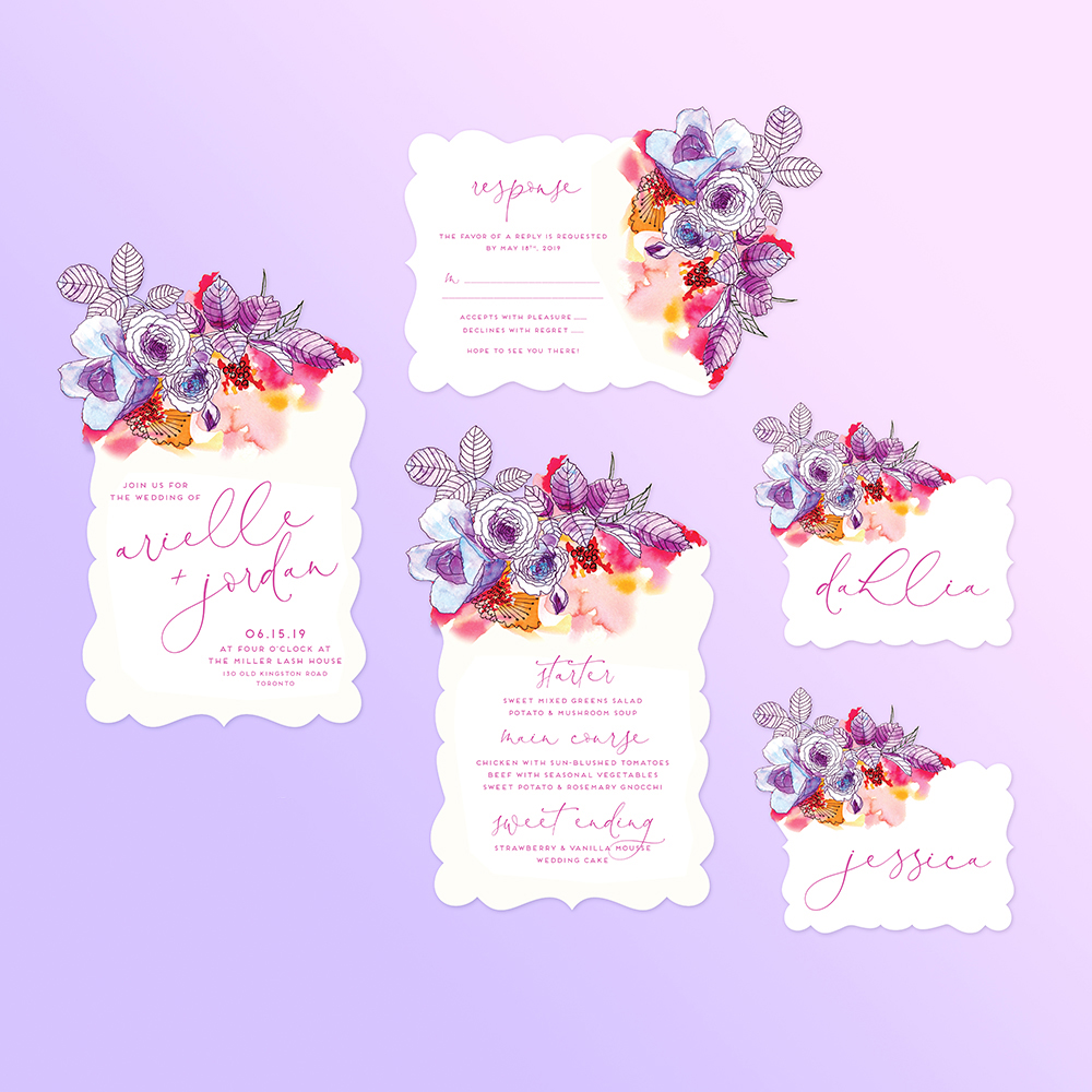 Castlefield Design – Colorful Garden Wedding Invitation Die Cut 1